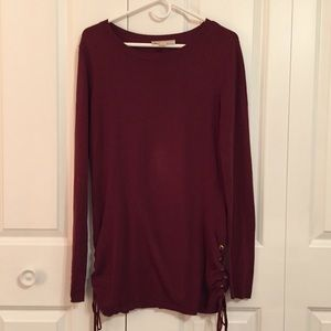 Michael Michael Kors Maroon Side Lace Up Sweater